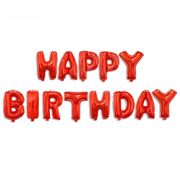 16 Inch Red Color Happy Birthday Letters Deco Foil Balloon Set