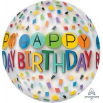 Anagram 16 Inch ORBZ Clear Rainbow Happy Birthday Balloon