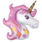 Anagram 33 Inch Pink Magical Unicorn SuperShape Foil Balloon