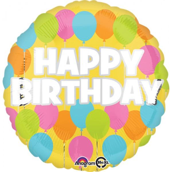 Birthday Balloons - Anagram 18 Inch Standard Birthday Pastel Balloon