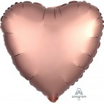 Anagram 17 Inch Satin Luxe Rose Copper Heart Shape