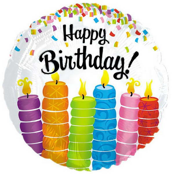 Birthday Balloons - CTI 17 Inch Happy Birthday Colorful Candles