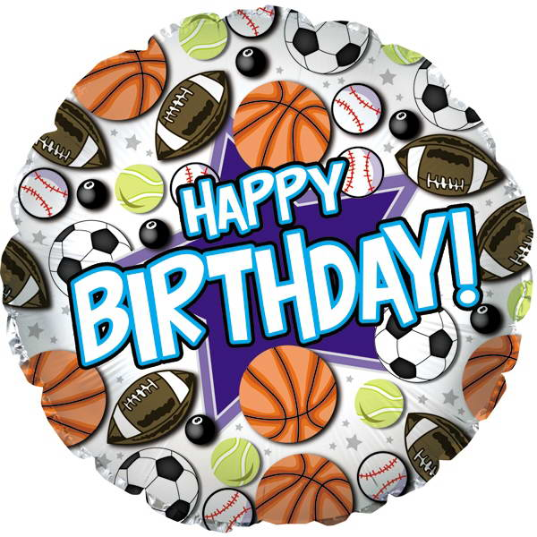 Birthday Balloons - CTI 17 Inch Happy Birthday Sports