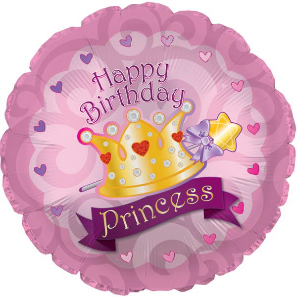Birthday Balloons - CTI 18 Inch Happy Birthday Princess Crown Gems