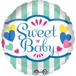 Anagram 18 Inch Sweet Baby Stripes & Hearts