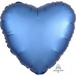 Anagram 17 inch Azure Blue Satin Heart Foil Balloon