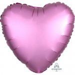 Anagram 17 inch Flamingo Pink Satin Heart Foil Balloon