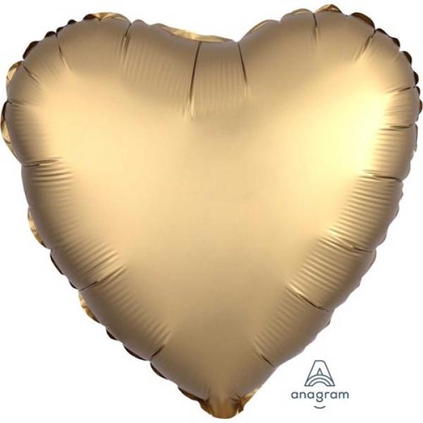 Heart Shape Balloons - Anagram 17 inch Gold Sateen Satin Heart Foil Balloon