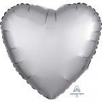Anagram 17 inch Platinum Satin Heart Foil Balloon
