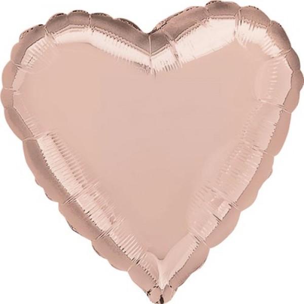 Heart Shape Balloons - Anagram 17 inch Rose Gold Heart Foil Balloon