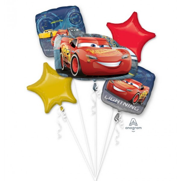 Balloon Bouquet Pack - Disney Cars 3 Lightning McQueen Foil Balloon Bouquet 5pcs
