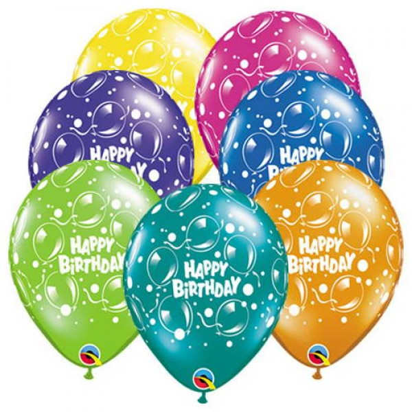 Birthday Balloons - Qualatex 11 Inch Birthday Sparkling Assorted Balloons ~ 10pcs