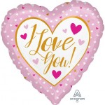 Anagram 17 Inch Love You Gold And Pink Foil Balloon