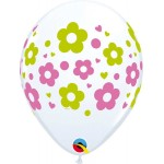 Qualatex 11 Inch Daisies, Dots And Hearts Latex balloons ~ 10pcs
