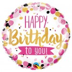 Qualatex 18 Inch Happy Birthday To You Pink And Gold Foil Balloon