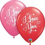 Qualatex 11 inch I Love You Heart Script ~ 10pcs