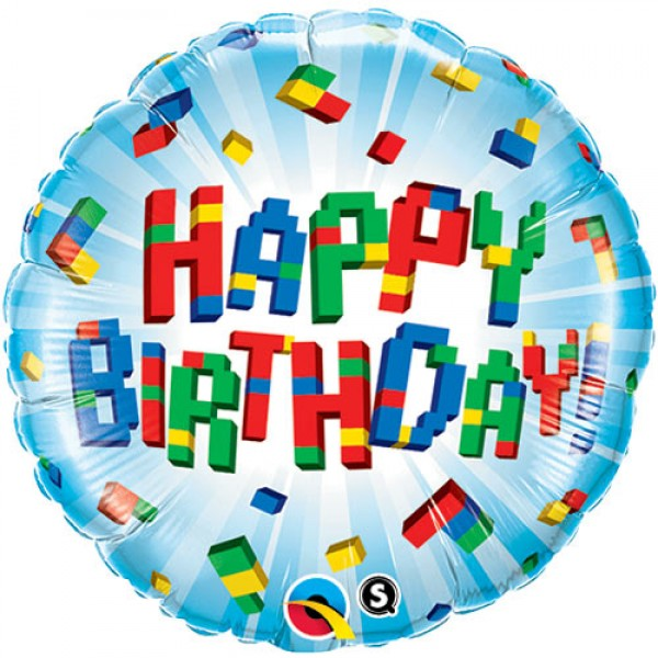 Birthday Balloons - Qualatex 18 Inch Birthday Exploding Blocks Foil Balloon