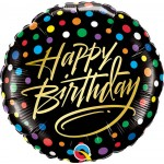 Qualatex 18 Inch Birthday Gold Script & Dots