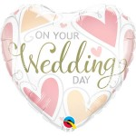 Qualatex 18 Inch On Your Wedding Day Hearts Foil Balloon