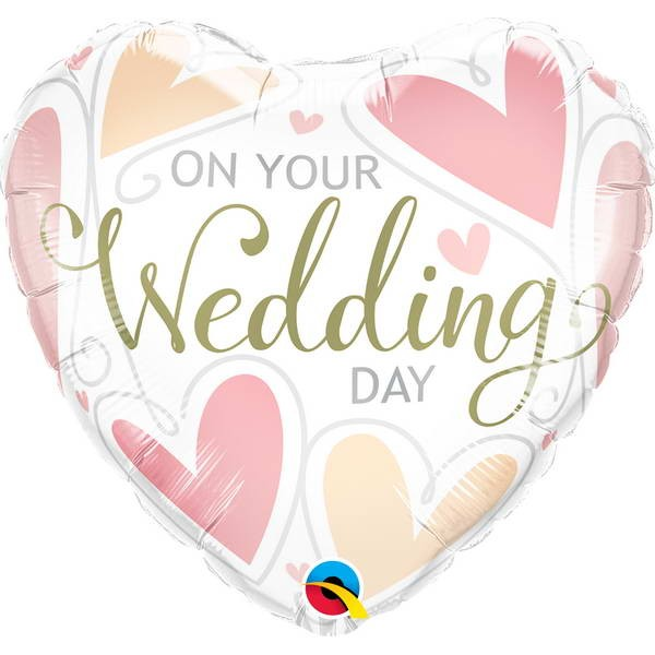 Wedding - Qualatex 18 Inch On Your Wedding Day Hearts Foil Balloon