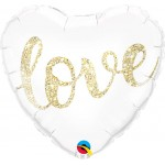 Qualatex 18 Inch Love Glitter Gold Foil Balloon