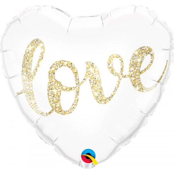 Love & Affection - Qualatex 18 Inch Love Glitter Gold Foil Balloon