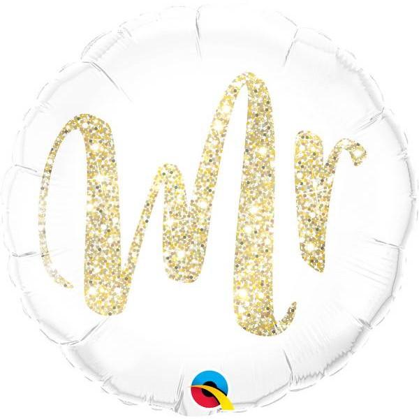 Wedding - Qualatex 18 Inch Mr. Glitter Gold Foil Balloon