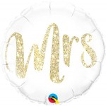 Qualatex 18 Inch Mrs Glitter Gold Foil Balloon