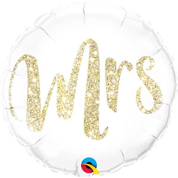 Wedding - Qualatex 18 Inch Mrs Glitter Gold Foil Balloon