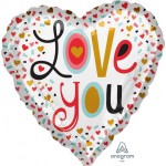Anagram 17 Inch Love You More Confetti Foil Balloon