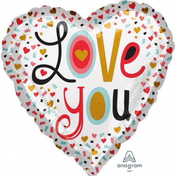 Love & Affection - Anagram 17 Inch Love You More Confetti Foil Balloon