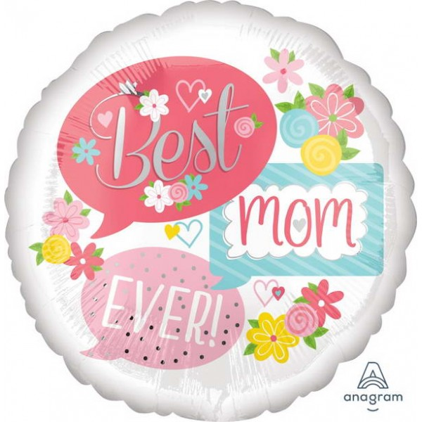 Mother's Day Balloon - Anagram 17 Inch Best Mom Ever Bubbles Foil Balloon