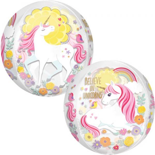 Animals Balloons - Anagram 16 Inch Clear Orbz Magical Unicorn Balloon