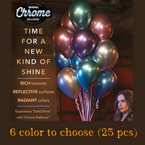 11 Inch Round Balloons - Qualatex 11 Inch Chrome Colors Balloon ~ 25pcs