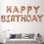 16 Inch Rose Gold Happy Birthday Letters Deco Foil Balloon Set ~ 13pcs