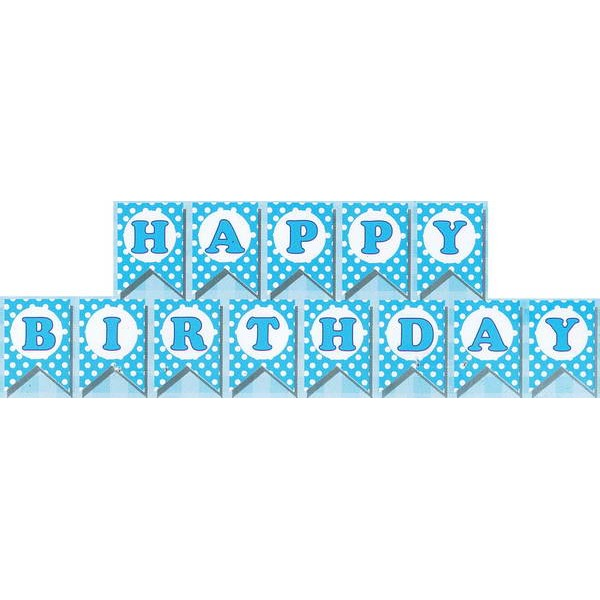Mytex Happy Birthday Polka Dots Blue Banner