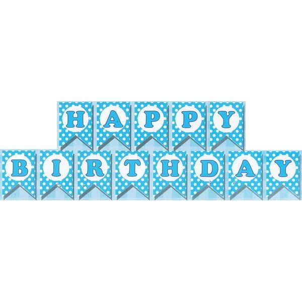 Banner - Mytex Happy Birthday Polka Dots Blue Banner