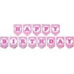 Mytex Happy Birthday Stripes Banner ~ Pink