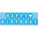 Mytex Happy Birthday Middle Heart Blue Banner
