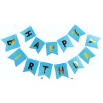 Mytex Happy Birthday Gold Color Wording Blue Banner