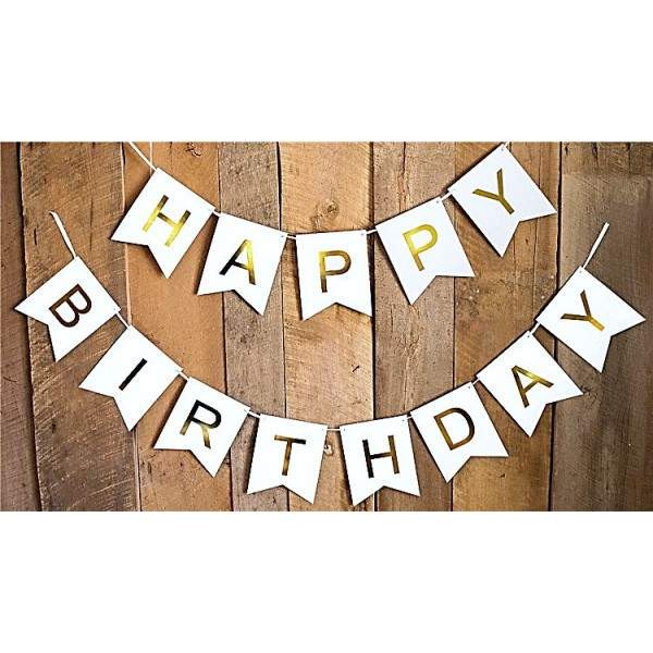 mytex happy birthday gold color wording white banner