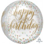 Anagram 16 Inch Orbz Happy Birthday Pastel Confetti