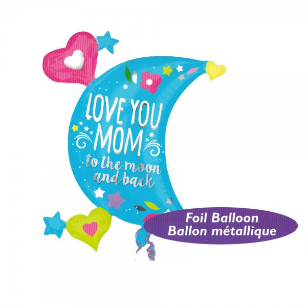 Mother's Day Balloon - Anagram 32 Inch Love You Mom Moon Supershape