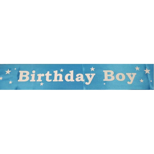 Sash - Birthday Boy Blue Satin Sash