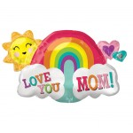 Anagram 30 Inch Love You Mom Rainbow Supershape
