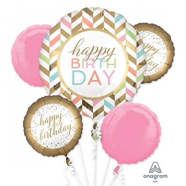 Birthday Balloons - Anagram Pastel Confetti Celebration Foil Balloon Bouquet ~ 5pcs