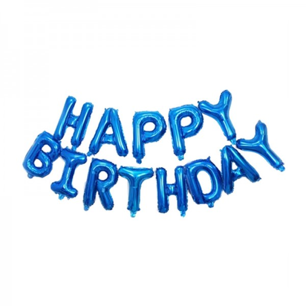 16 Inch Blue Happy Birthday Letters Deco Foil Balloon Set ~ 13pcs