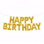 16 Inch Gold Happy Birthday Letters Deco Foil Balloon Set ~ 13pcs