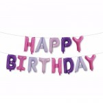 16 Inch Pastel Multi-Color Happy Birthday Letters Deco Foil Balloon Set ~ 13pcs