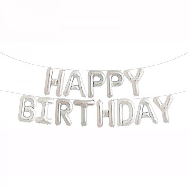 Alphabets Letter - 16 Inch Silver Happy Birthday Letters Deco Foil Balloon Set ~ 13pcs